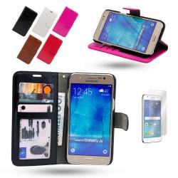 Läderfodral / Plånbok - Samsung Galaxy J5 2016 + Skärmskydd