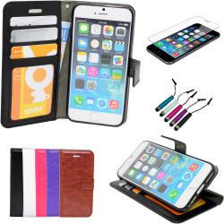 iPhone 7/8 - Läderfodral/Skydd + 3 i 1 Paket