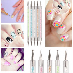 5pcs 2 Way Crystal Nail Art Dotting Painting