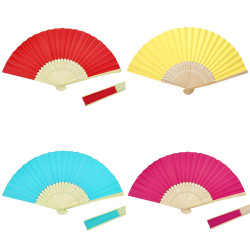 Plain Hand Held Bamboo Fabric Folding Fan Paper
