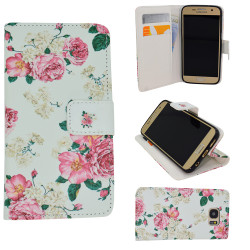 Samsung Galaxy S7 - Case / Leather Wallet - Flowers
