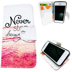 iPhone 5/5s/SE-Fodral/Plånbok Läder - Never Stop Dreaming...