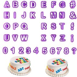 40pcs Alphabet Number Letter Fondant Cake Decoration Set