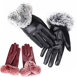 Winter PU Leather Full Finger Touch Screen Warm Gloves
