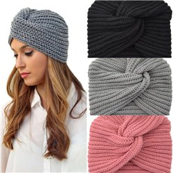 Women Warm Winter Knit Turban Cross Twist Wrap Cap