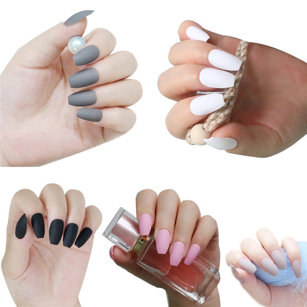 24pcs/Set False Nails Full Cover Artificial Ballerina Nail Tips Manicure