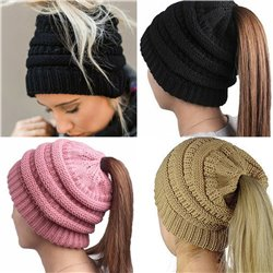 Girl Stretch Knit Hat Messy Bun Ponytail Beanie Holey Warm Hats