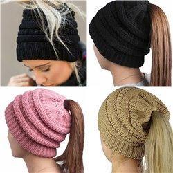 Girl Stretch Knit Hat Messy Bun Ponytail Beanie Holey Warm Hats