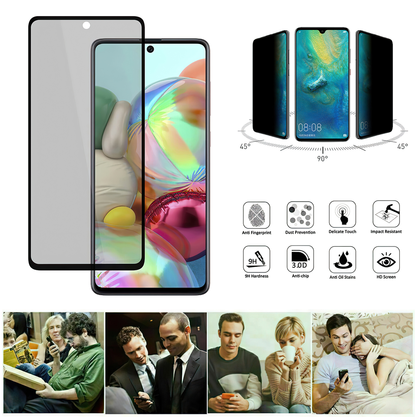 Samsung Galaxy A51 - Privacy Tempered Glass Screen Protector Protection