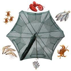 Folding Fishing Net Fish Shrimp Crab Bait Cast Net Mesh Trap 6 Holes