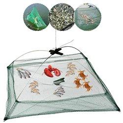 Folding Fishing Net Fish Shrimp Crab Bait Cast Net Mesh Trap