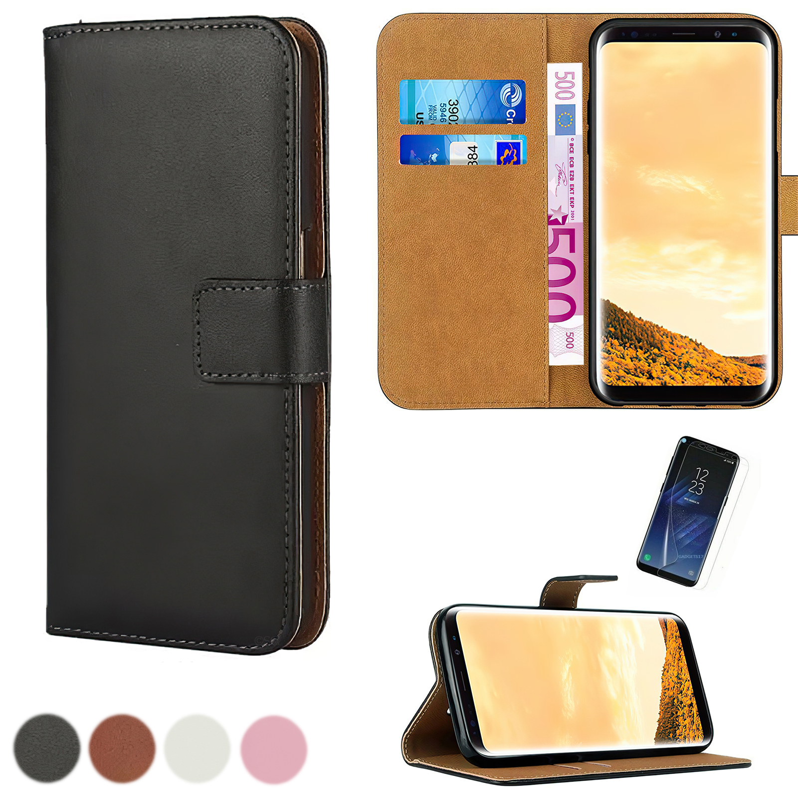 Samsung Galaxy S9 - PU Leather Wallet Case + Screen protection